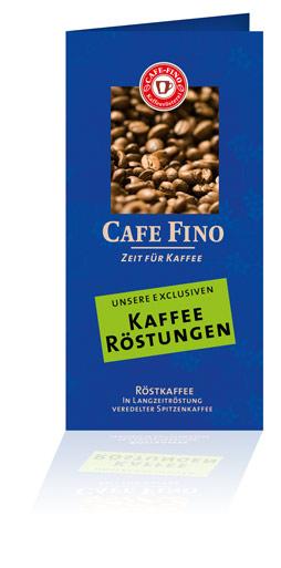 Blauer Cafe Fino Kaffeerösterei Flyer stehend - unsere exklusiven Kaffee Röstungen - Zeit für Kaffee und Espresso